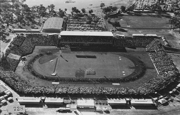 Purpose built Perry Lakes Stadium during the 1962 Commonwealth Games opening ceremony. (Supplied: State Library of Western Australia)