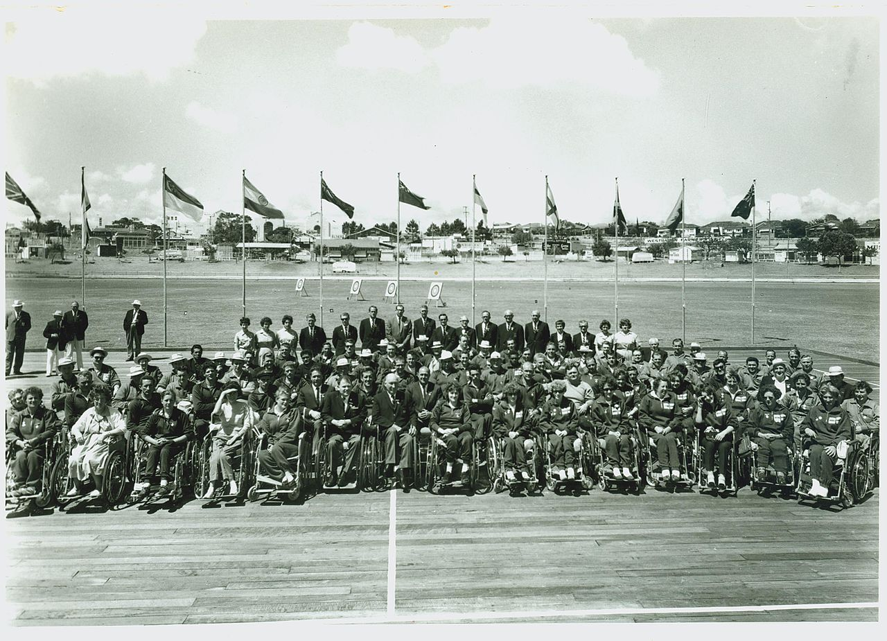 Gathered athletes before the commencement of the first Commonwealth Paraplegic Games (Supplied: Wikimedia Commons)