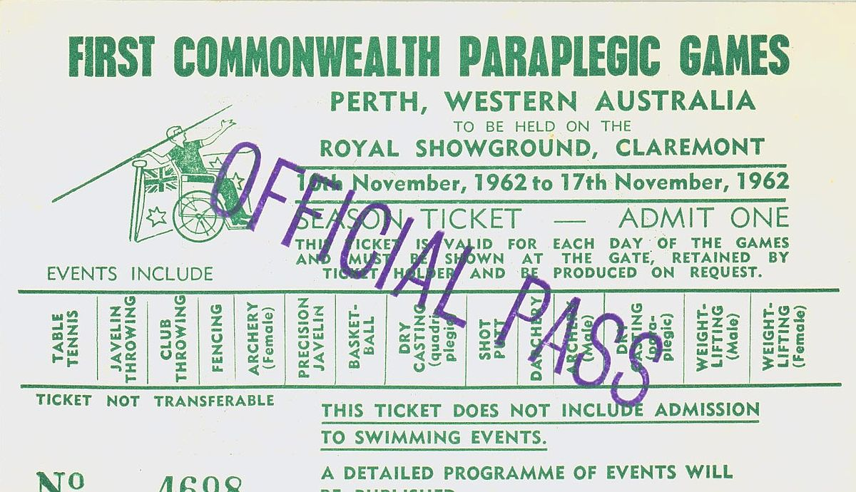 Admit one official pass to the Paraplegic Games (Supplied: Wikimedia Commons)