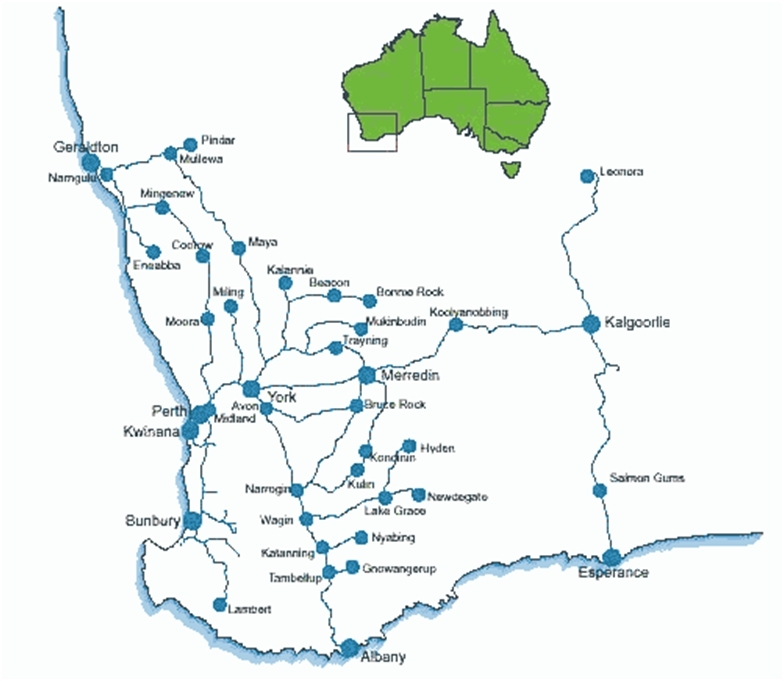 Existing rail corridors in southern Western Australia (Supplied: Economic Regulation Authority)