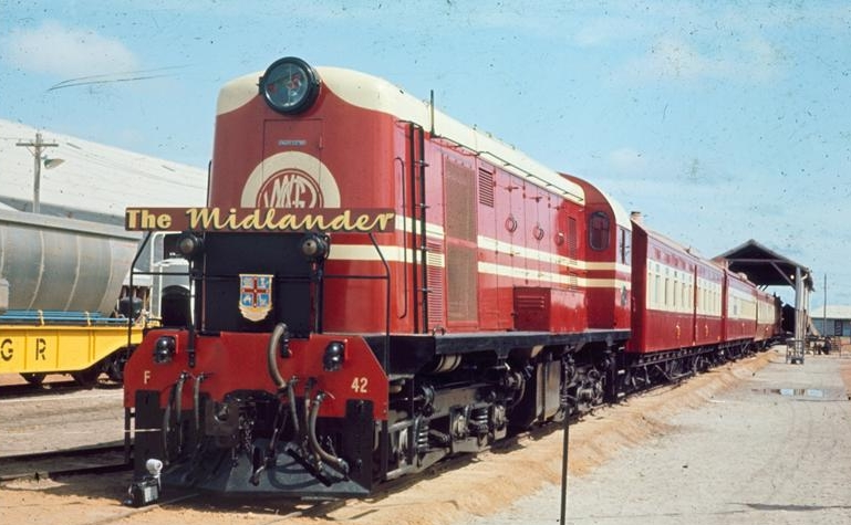 The furthest reaching services operated by Westrail were The Mullewa (30 Oct 1961 -17 Mar 1974), and The Midlander (2 Sep 1964 -28 Jul 1975). These provided trains to Mullewa, and later neighbouring Geraldton, and were hauled by C1702 diesel locomotives along the Eastern and Northern lines. An overnight sleeper carriage was linked to a freight train once per week at Mullewa, and took passengers north-east to Meekatharra, making Meekatharra the farthest destination reached by a Western Australian Government Railways service. (Supplied: Rail Heritage WA)