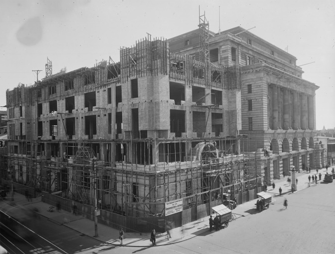 Opening on 22 March 1933, after construction took place throughout most of the previous year, the Commonwealth Bank of Australia Building is situated to the immediate south of the General Post Office.Its construction effectively doubled the size of the Commonwealth Government precinct at that time and at present sits at the corner of Forrest Place and Murray Street Mall. (Supplied: State Library of Western Australia)