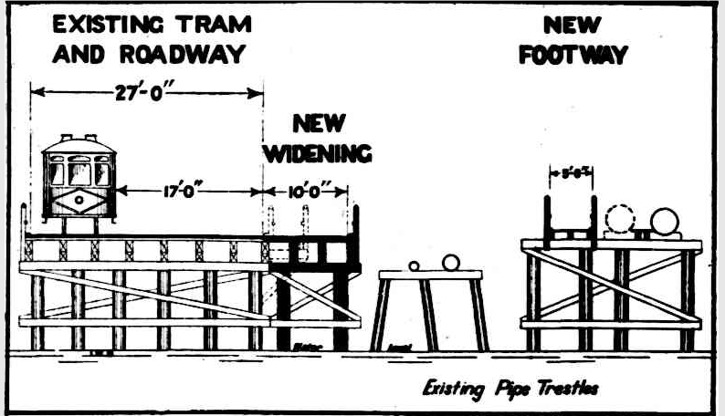 """""""The diagram shows the Government's proposal for widening the Causeway from 17ft to 27ft for vehicular traffic. The present footway will be removed and the space used for the roadway, and a new footway will be built on the existing pipe trestles, which run parallel with the causeway."""" -The West Australian, 23 August 1932."""