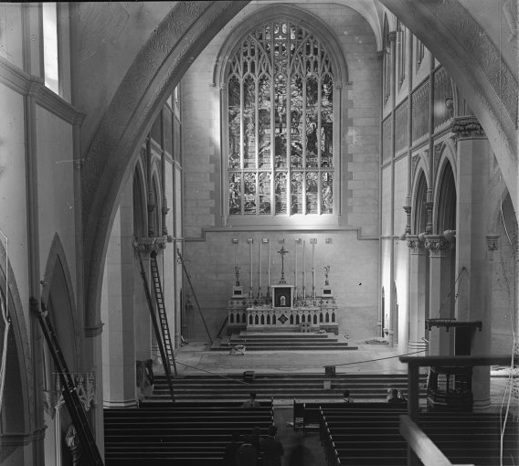 Interior of St Mary's Cathedral, 1930, while expansion works take place on the exterior. (Supplied: State Library of Western Australia)