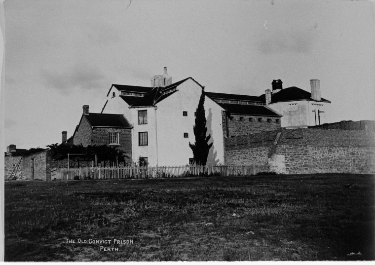 Perth Gaol, 1890, two years after the last prisoner was transferred to Fremantle Prison. It was around this time that the gaol was under use as Perth Courthouse. (Supplied: State Library of Western Australia)