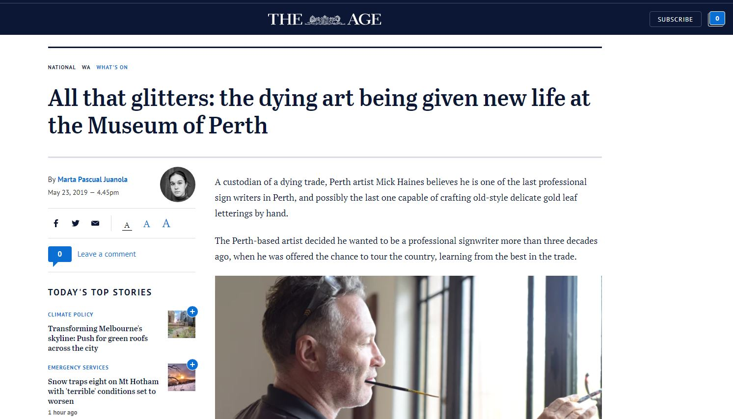 All that glitters: the dying art being given new life at the Museum of Perth - The Age, May 23, 2019