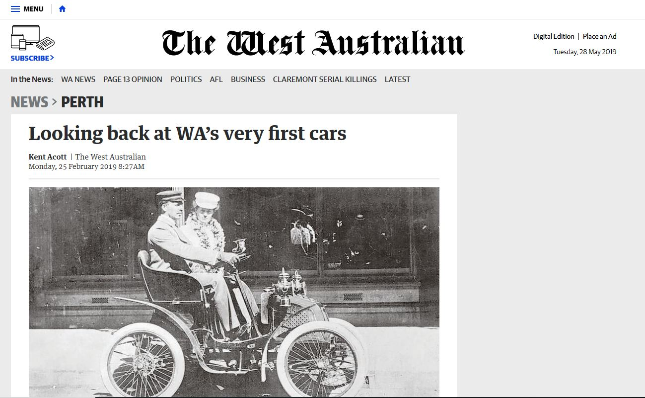 Looking back at WA's very first cars - The West Australian, February 25, 2019