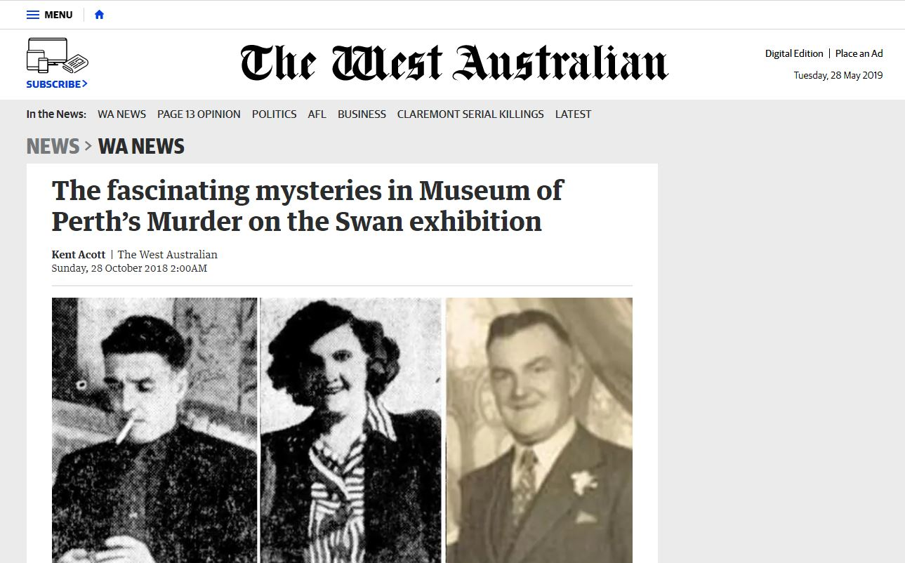 The fascinating mysteries in Museum of Perth's Murder on the Swan exhibition - The West Australian,October 28, 2018