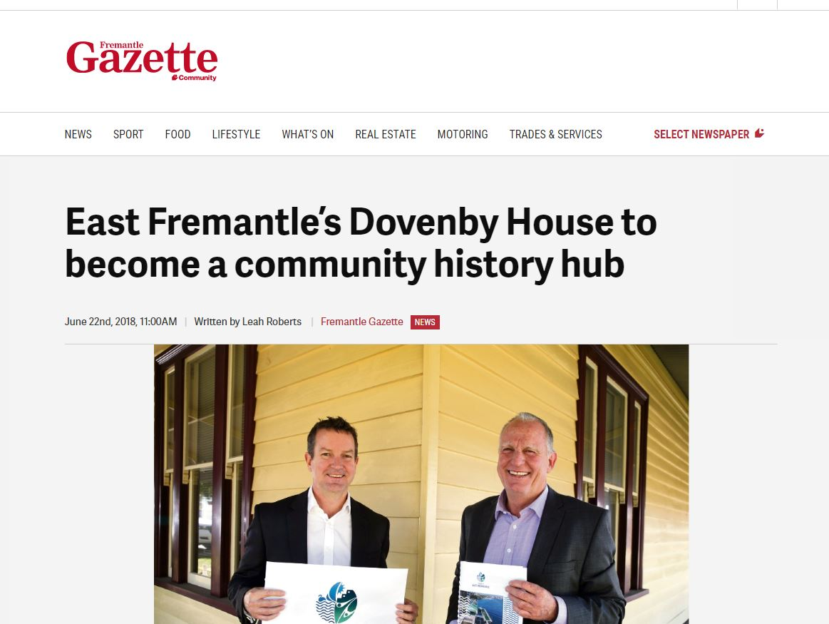 East Fremantle's Dovenby House to become a community history hub - Fremantle Gazette, June 22, 2018