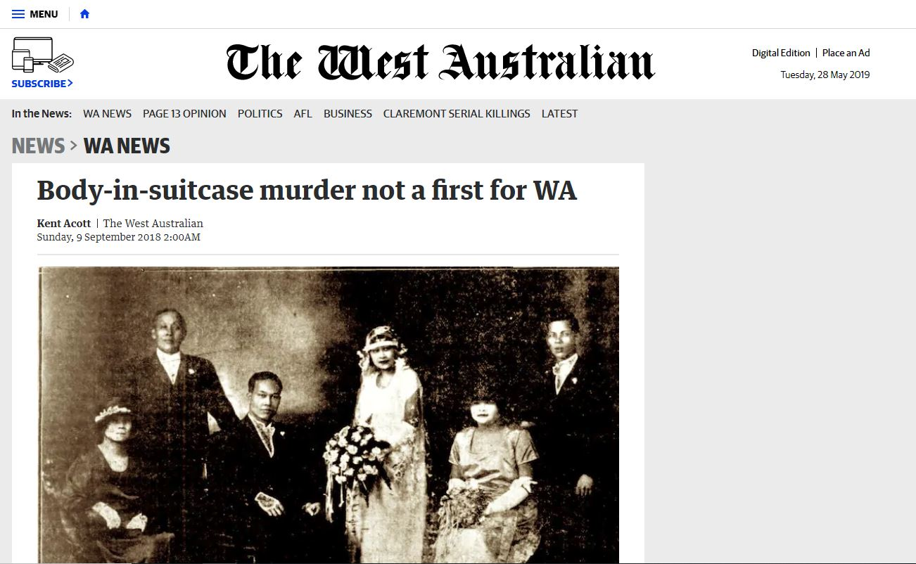 Body-in-suitcase murder not a first for WA - The West Australian, September 9, 2018