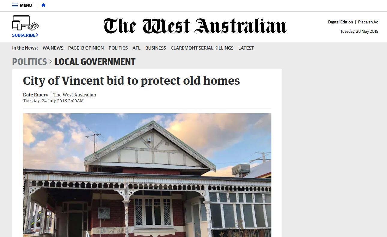 City of Vincent bid to protect old houses - The West Australian, 24 July 2018