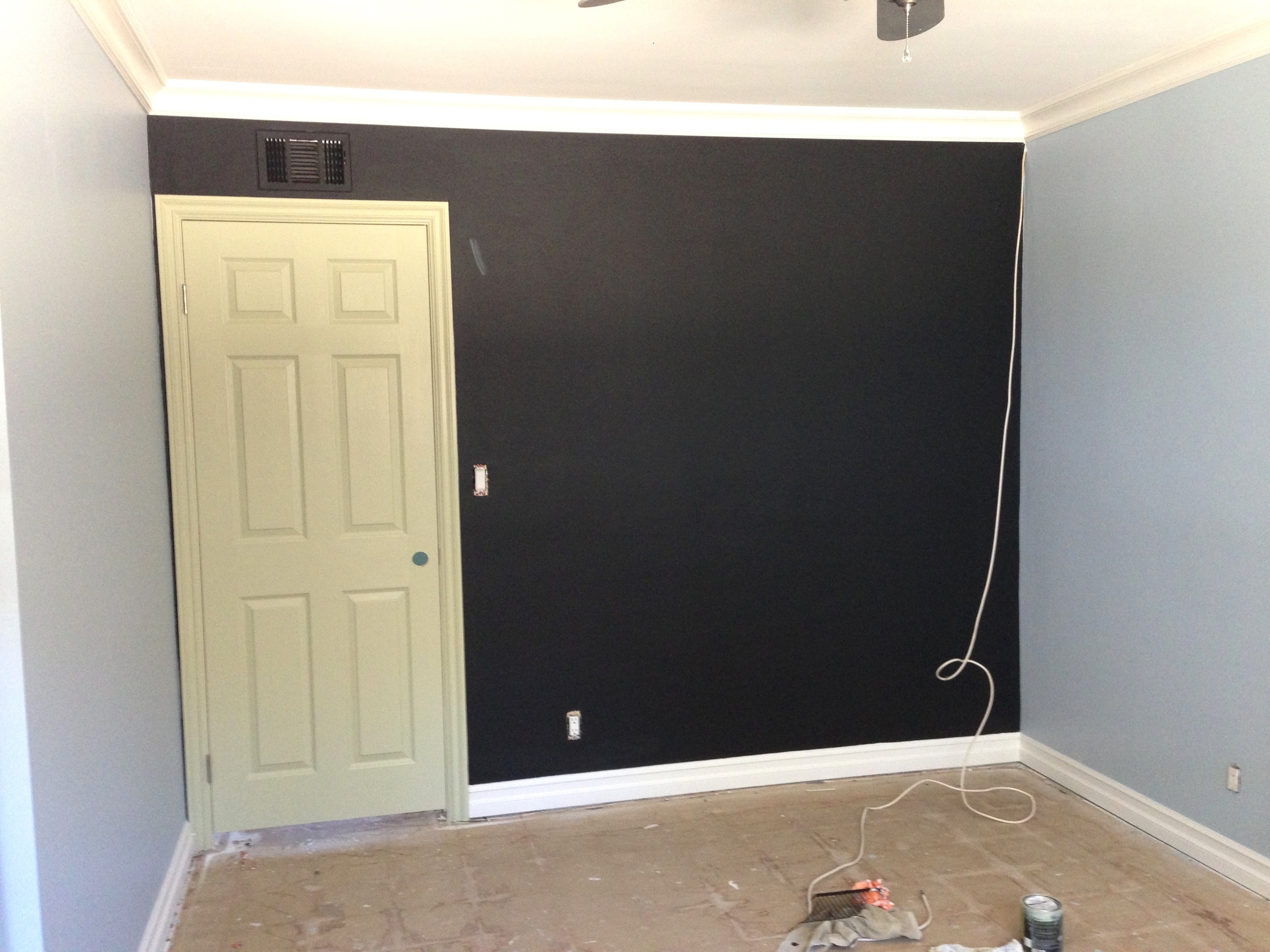 BM Black Chalkboard Paint,  F&B Cooking Apple Green  Door