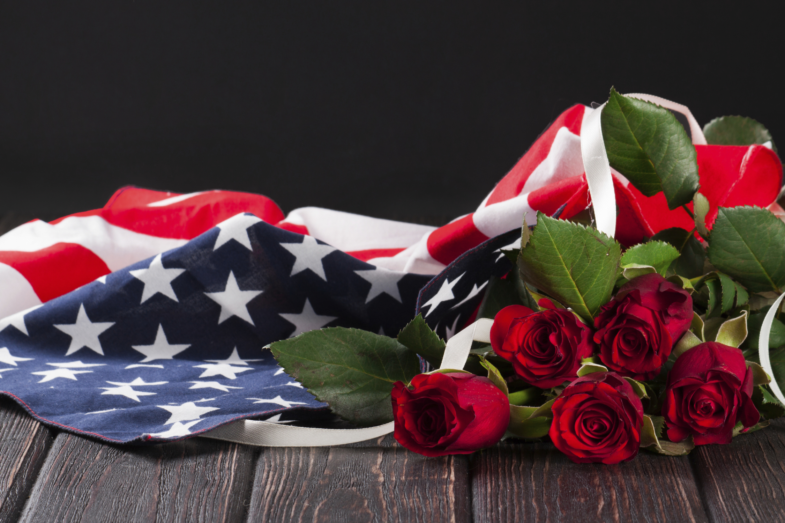 American Flag with Roses