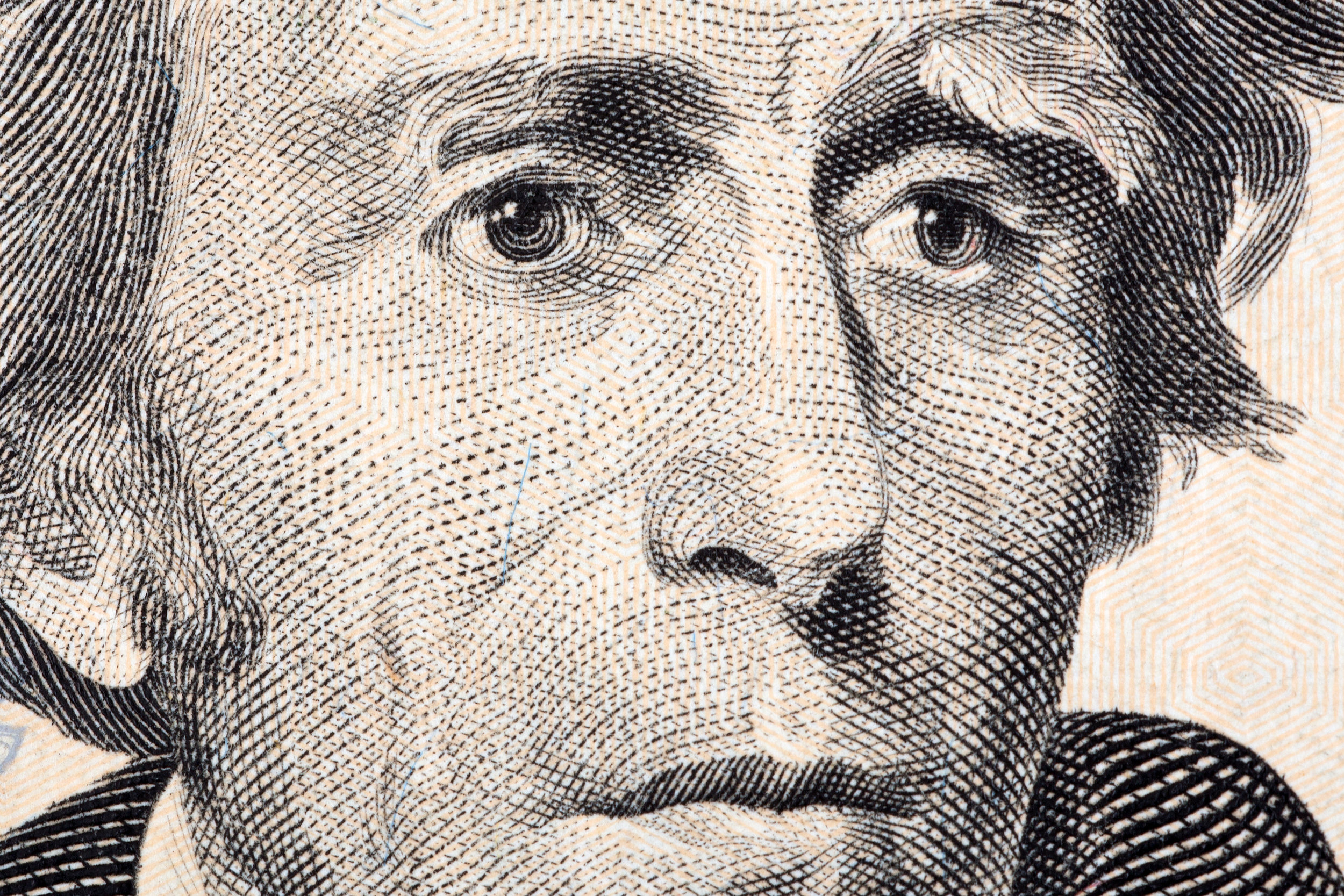 Closeup of President Andrew Jackson's face on the twenty dollar bill
