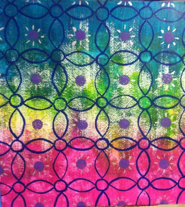 Image Description: An abstract acrylic on canvas painting. The background is similar to tie dye, blue on top, green/yellow in the middle with a considerable amount of white, and fuchsia pink on the bottom. Over the background is a repeating pattern of darker blue ovals and circles with purple dots in between the pattern and silver lines around the purple dots.  This painting was made during a suicidal period when I worked furiously on the largest painting I had done at that point as a way keep myself busy and survive.