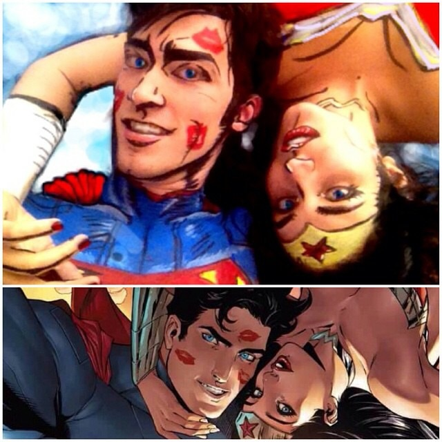 """Our version of the Superman and WonderWoman """"Selfie Cover"""""""