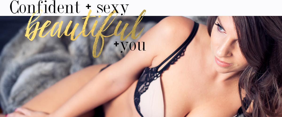 confident sexy beautiful woman boudoir portrait