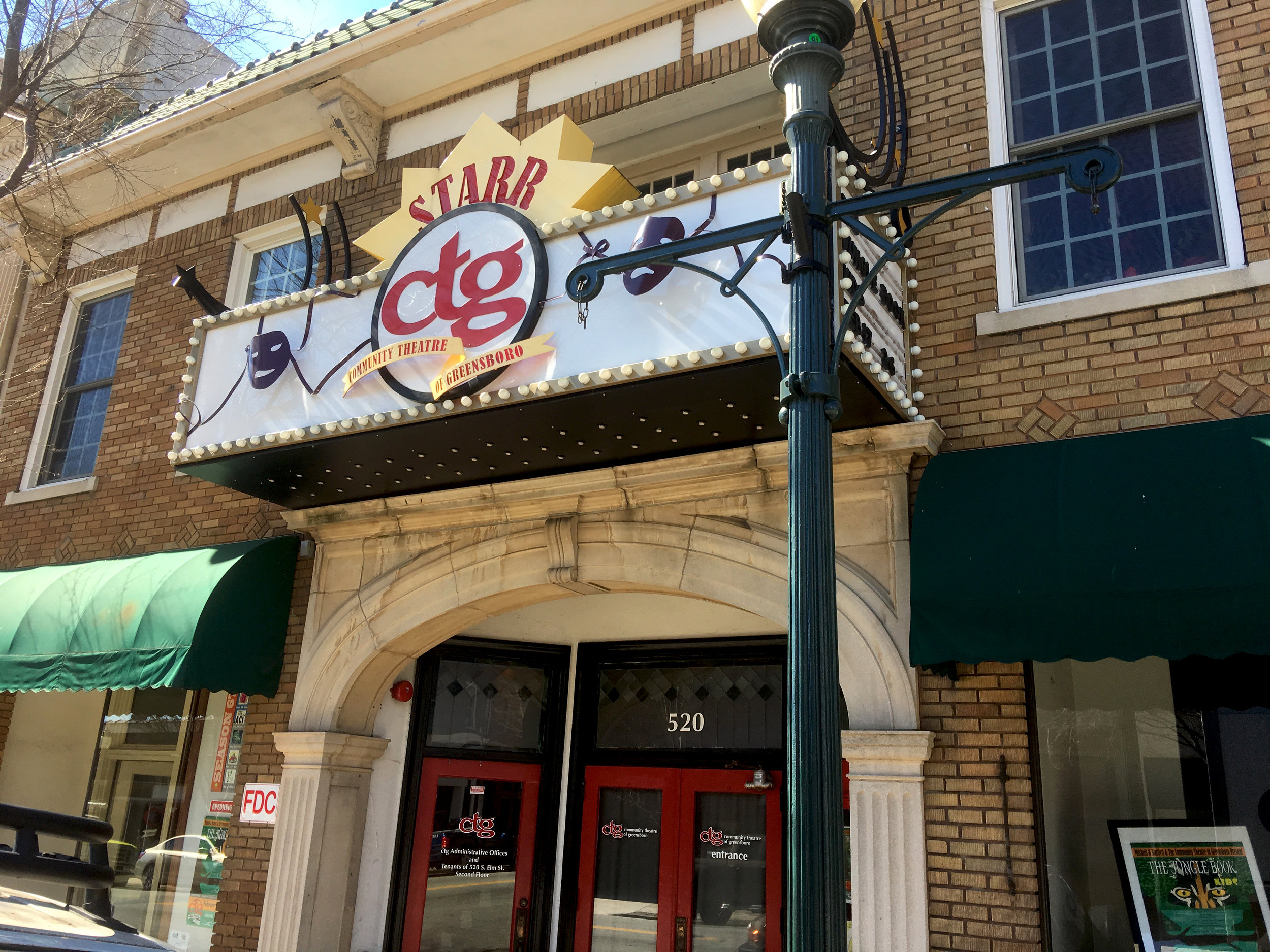 Here's the Community Theatre of Greensboro, the oldest arts organization in Guilford County.