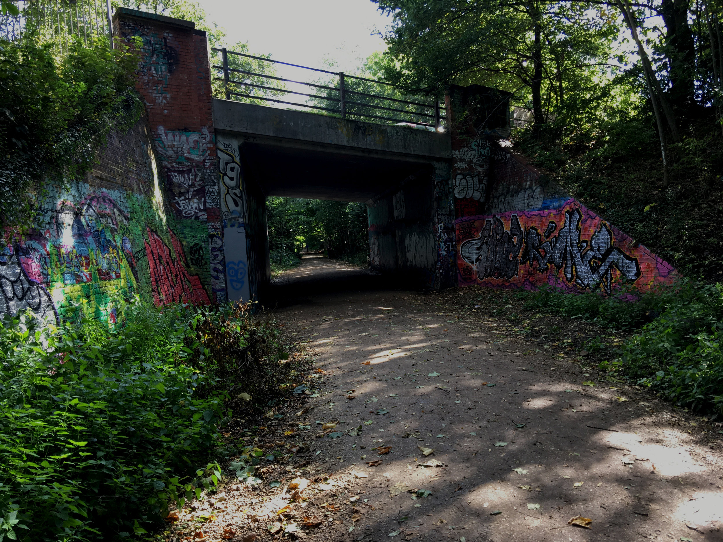 Much of the Parkland Walk's disused rail infrastructure is now covered in graffiti, although most of it is quite good.