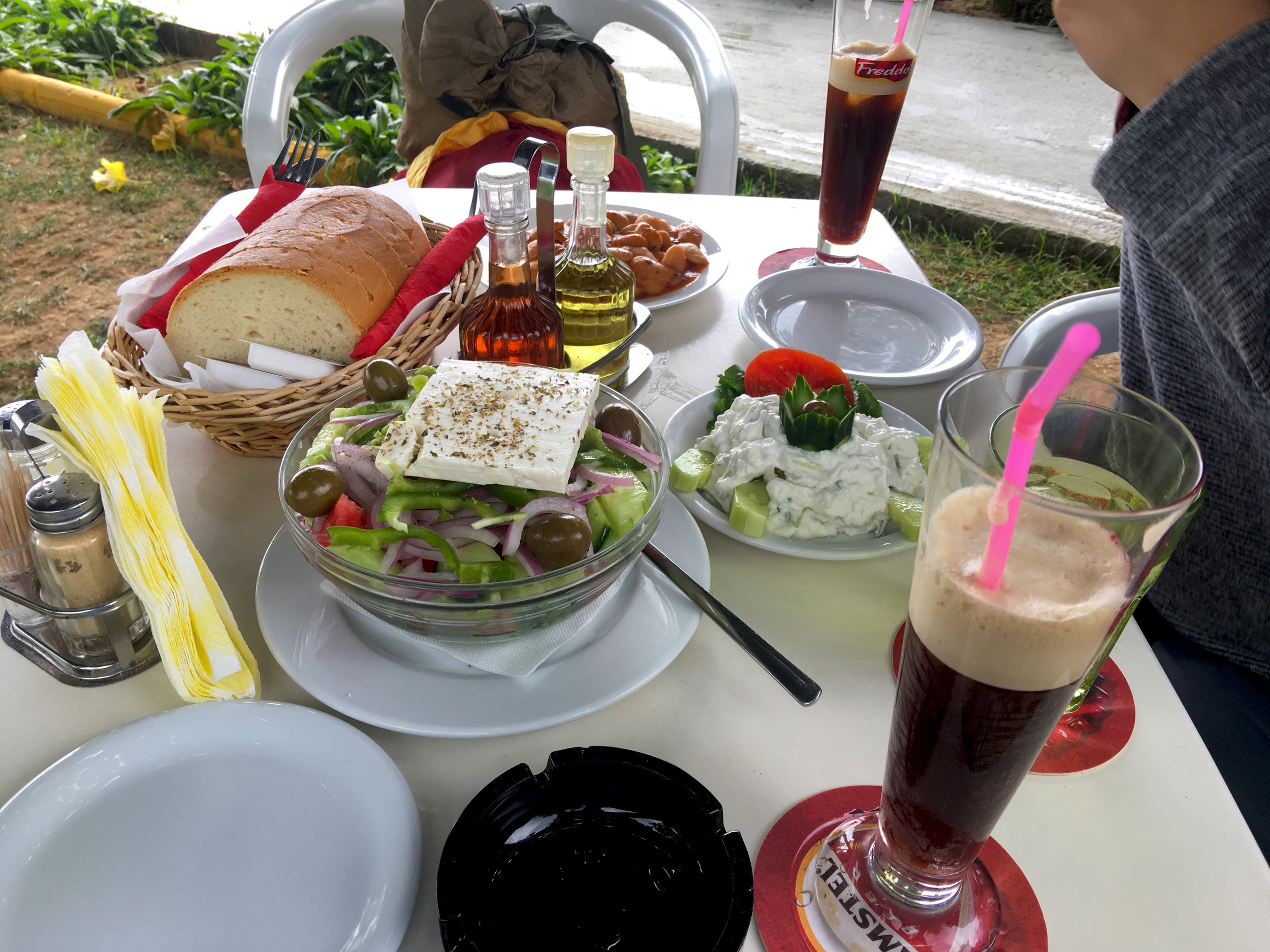Greek salad, tzatziki, and gigantes make up the perfect lunch after some long, hard hours of sunbathing.