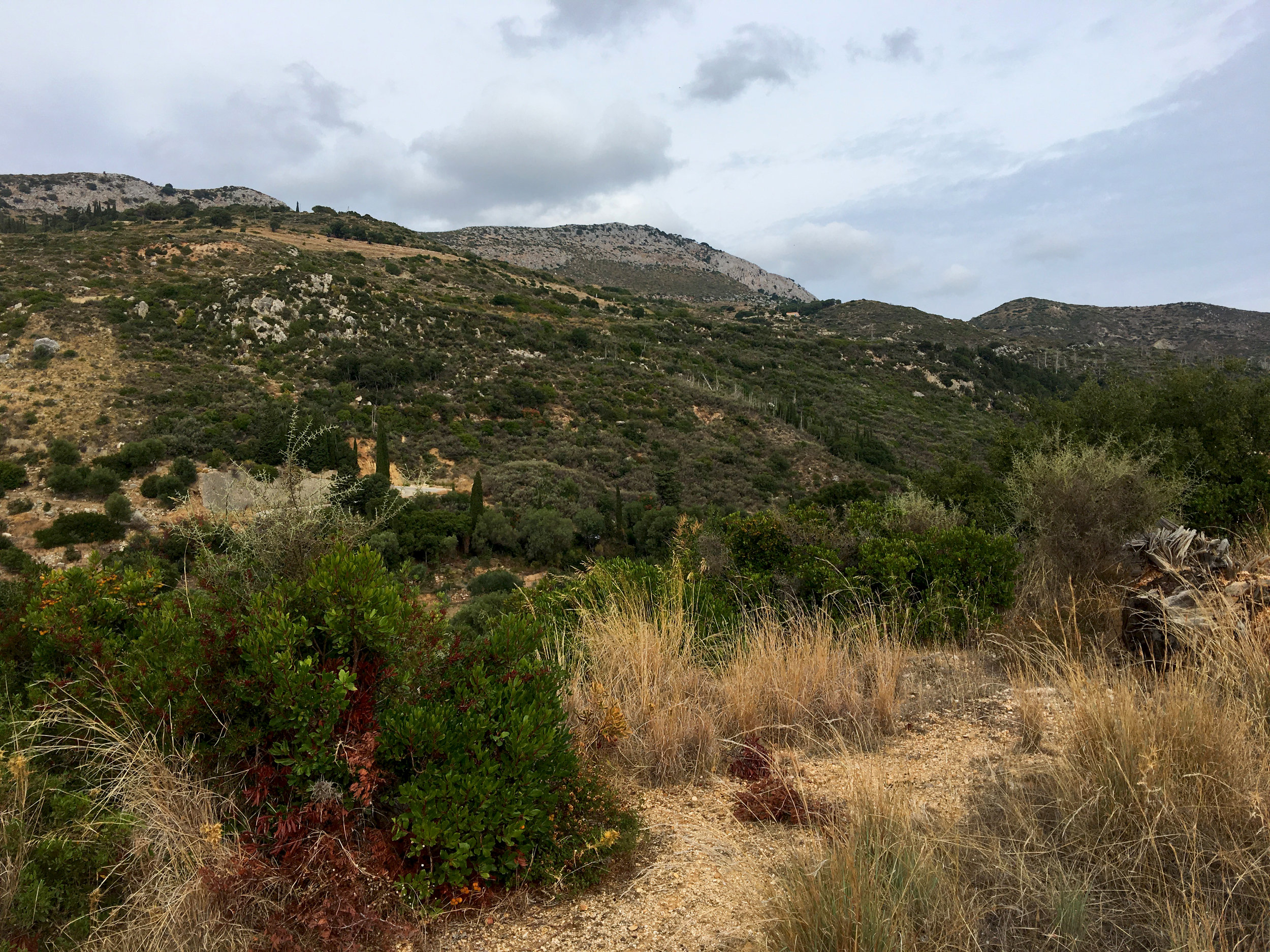 A look at Skala's peaks as we begin the hike to Old Skala.
