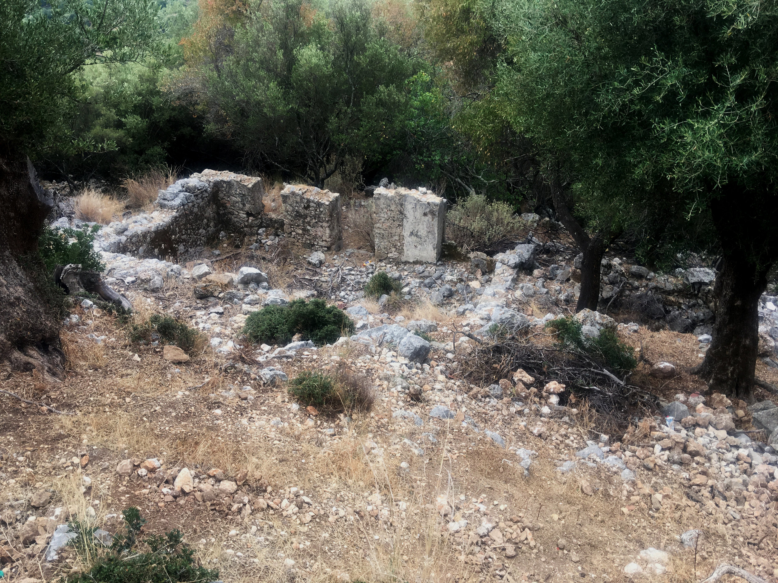The ruins of Old Skala, which was leveled by a devasting earthquake in 1957 that claimed many lives and resulted in the move to the new town's present location.