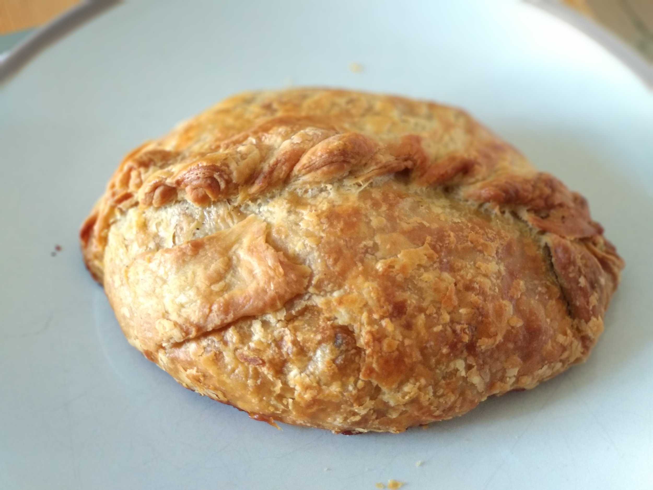 Cornish pasty: beef, potatoes, onions, rutabaga (swede). All you need in a convenient package.