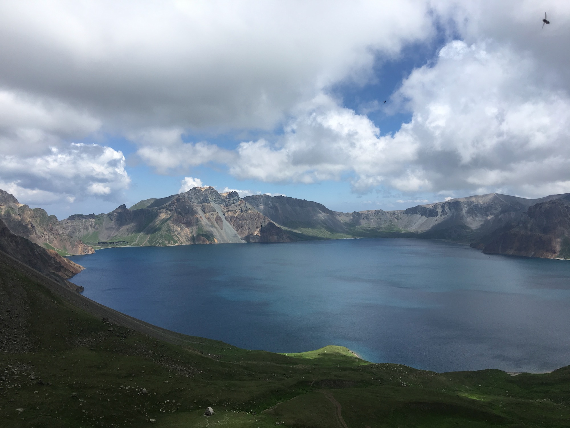 Beautiful Heaven Lake in the crater at the summit of Changbaishan.