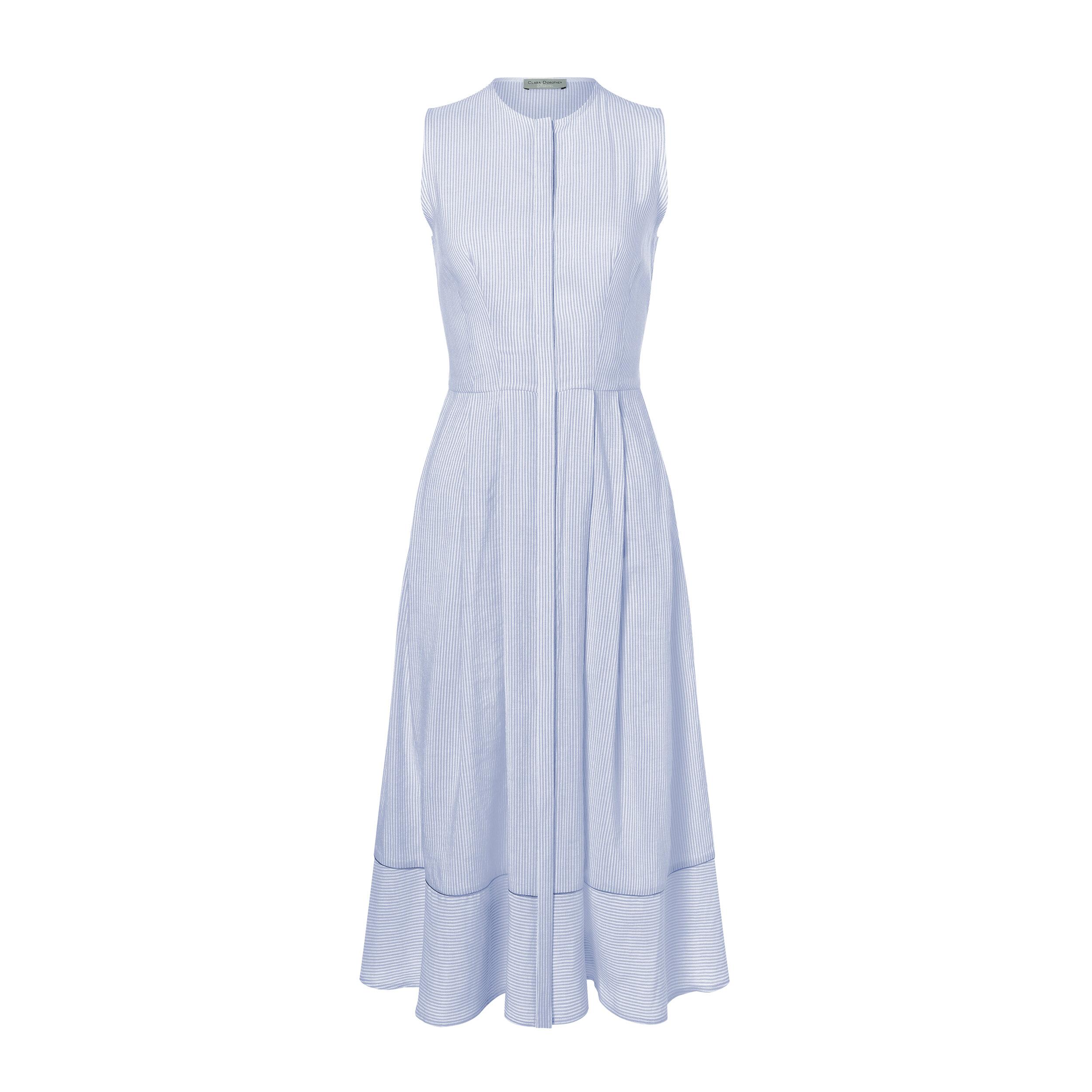 Kleid LIVIA blau/weiss lang Dirndl — Clara Dorothea