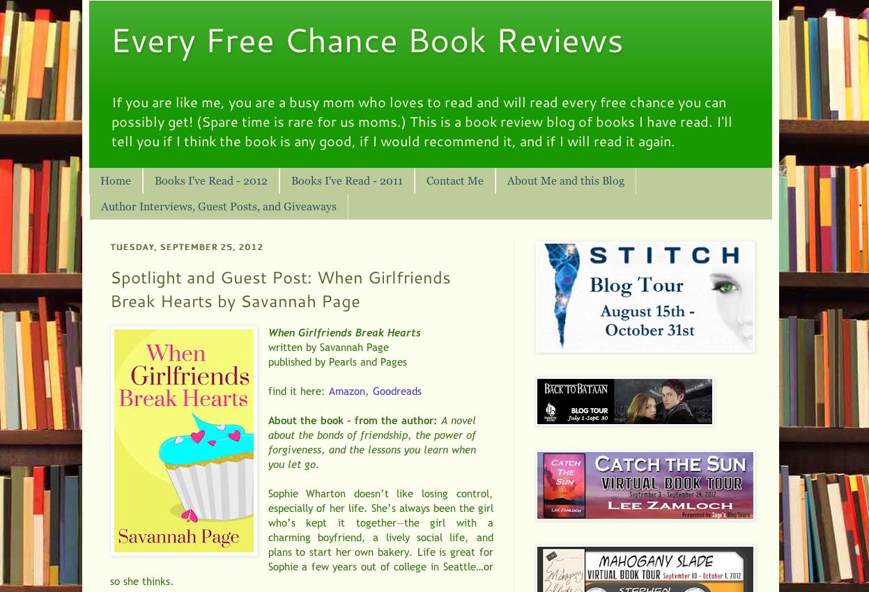 Every Free Chance Book Reviews - Spotlight When Girlfriends Break Hearts - Savannah Page