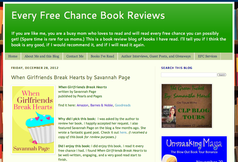 Every Free Chance Book Reviews Feature - Savannah Page