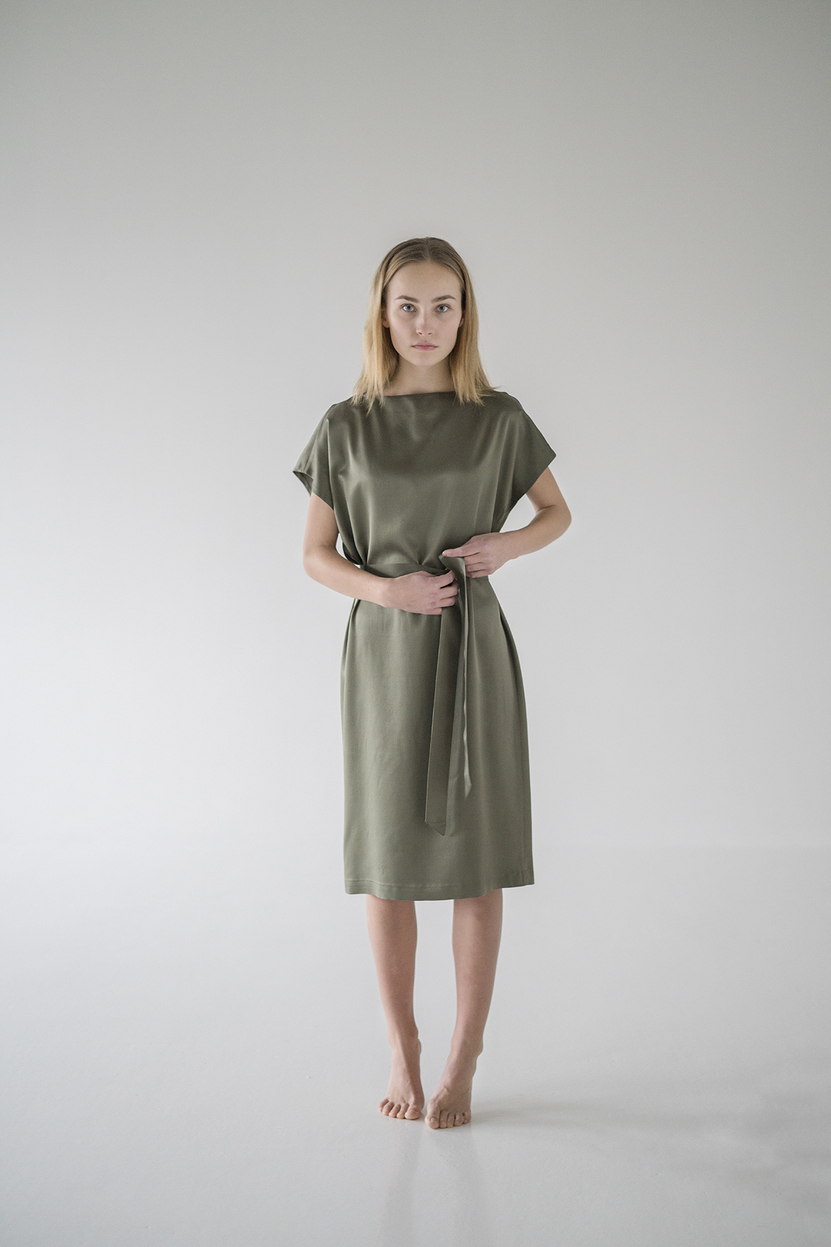 Kielo's timeless sage green  Blake Dress  made from Ahimsa (or Peace) silk.