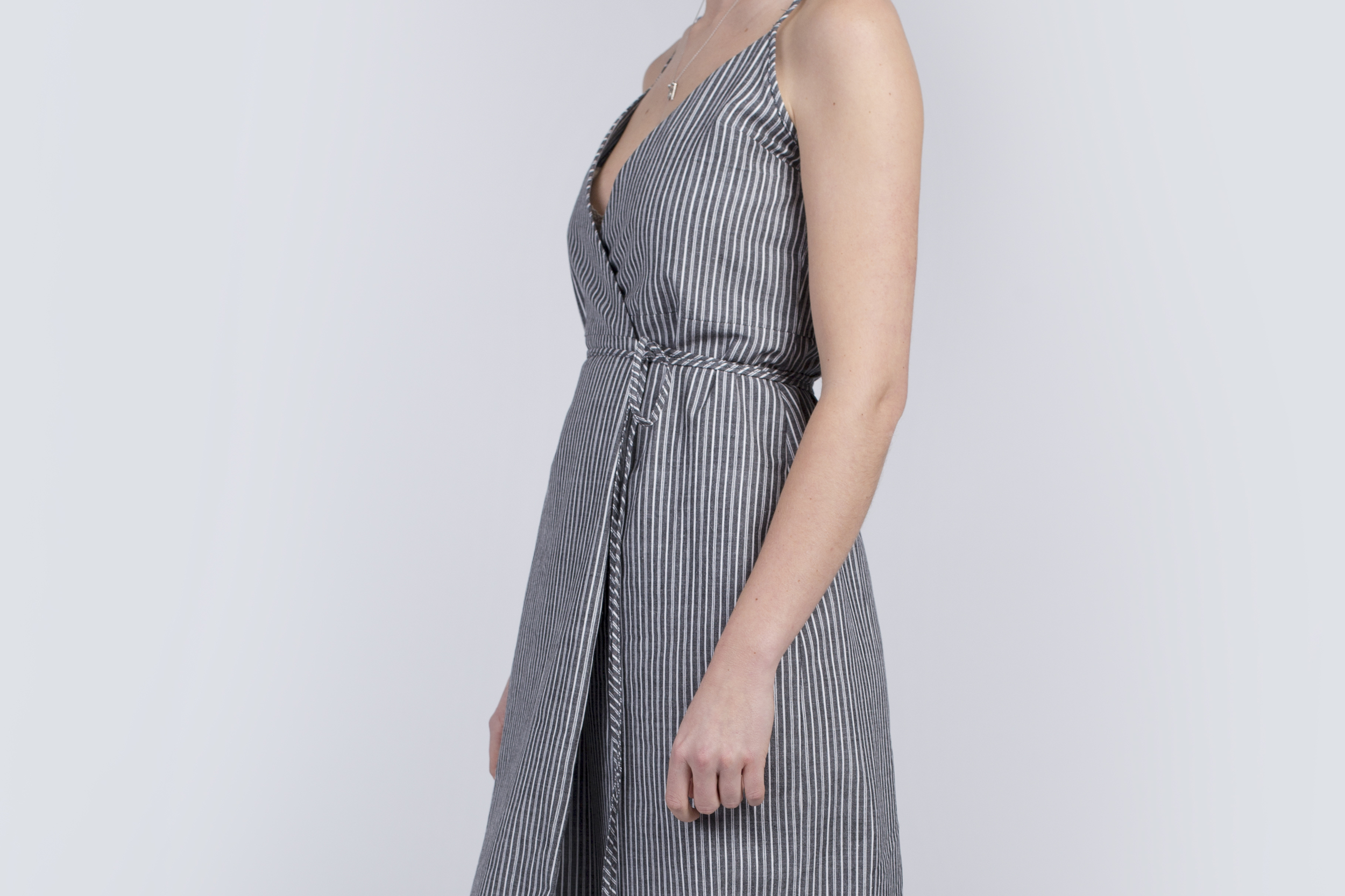 Striped midi dress in sustainable cotton