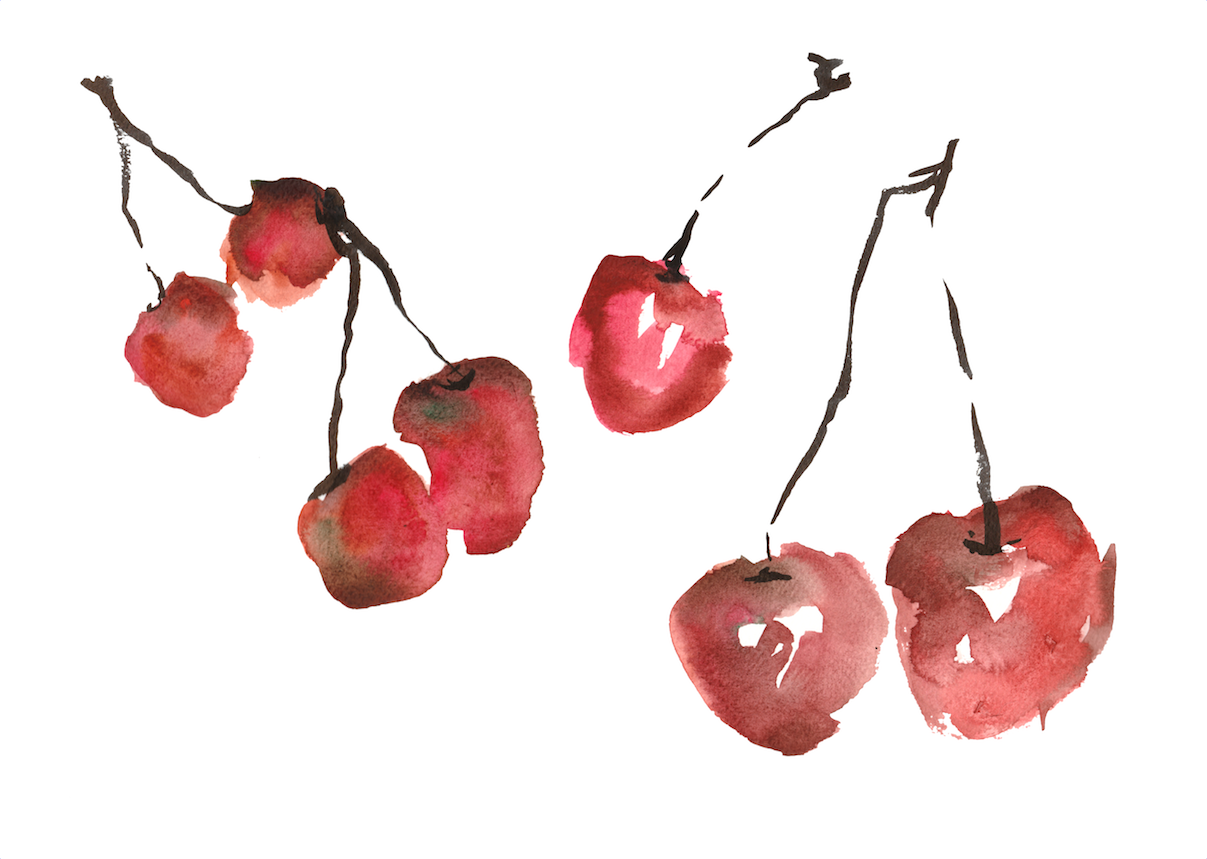 Cherries by Gemma Hampton (available as a print through her  Etsy  shop)