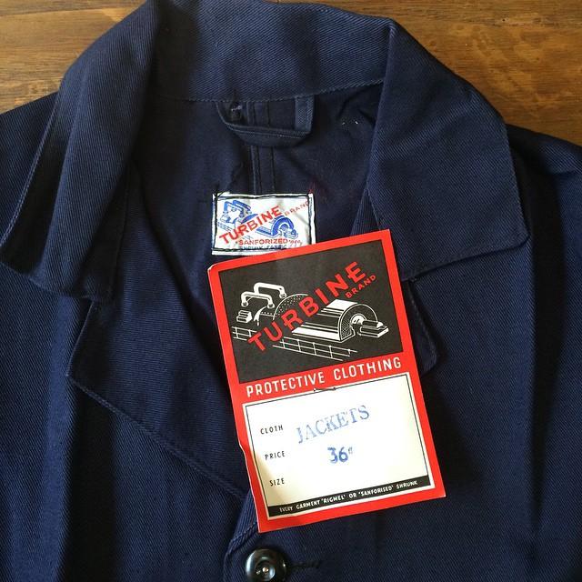 Deadstock 1960s Turbine work jacket #vintageworkwear #vintagelabel #chorejacket #workjacket #workwear
