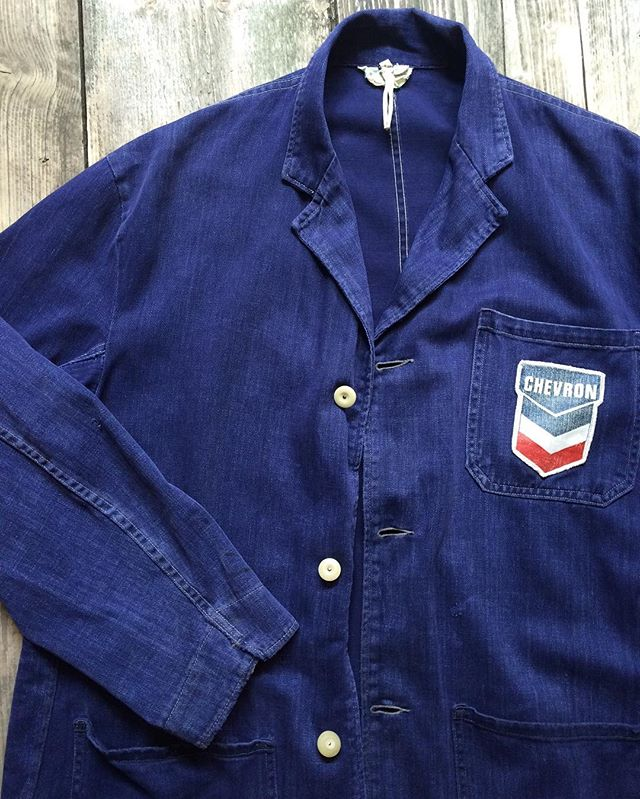 #1950s #indigo #chevron #shopcoat #vintageworkwear