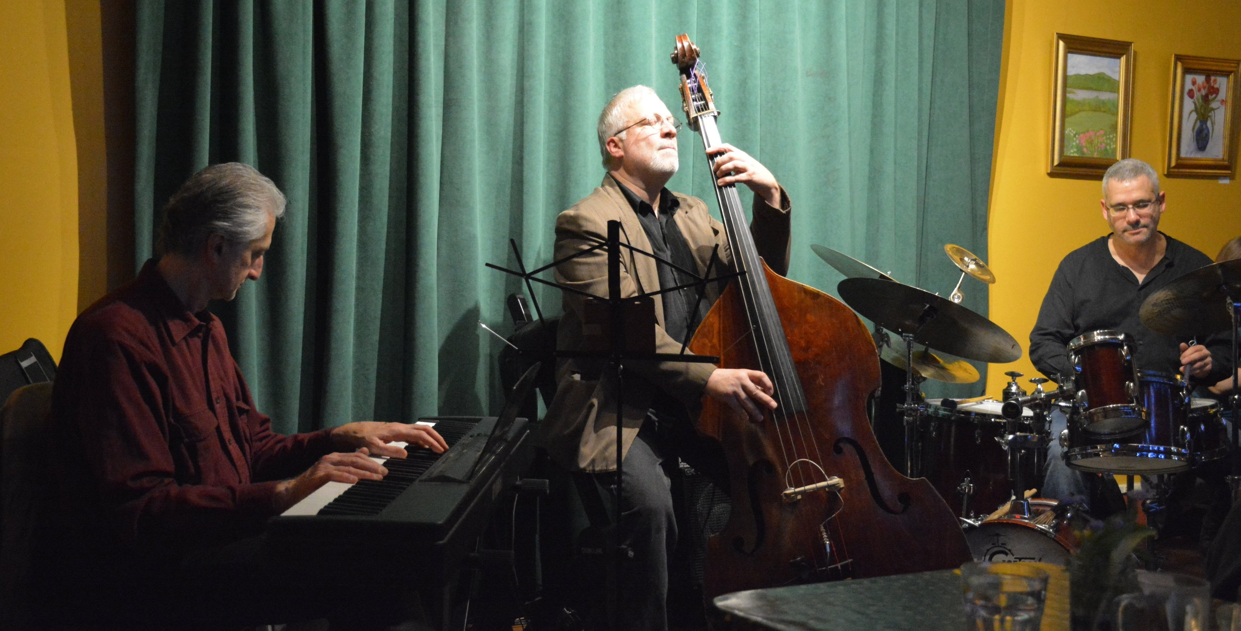 Armen Donelian (piano), Jeff Syracuse (bass) and Jeff Siegel (drums) performing on May 7, 2016 at The Rosendale Cafe, Rosendale, NY.