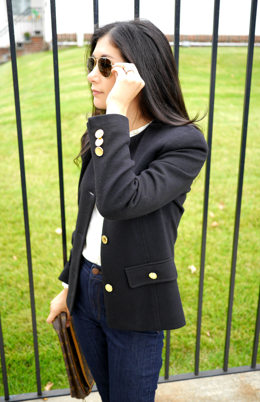 Brooks Brothers Blazer Gucci Loafers LOFT Skinny Jeans Ray Ban Aviators Everlane Silk Shirt