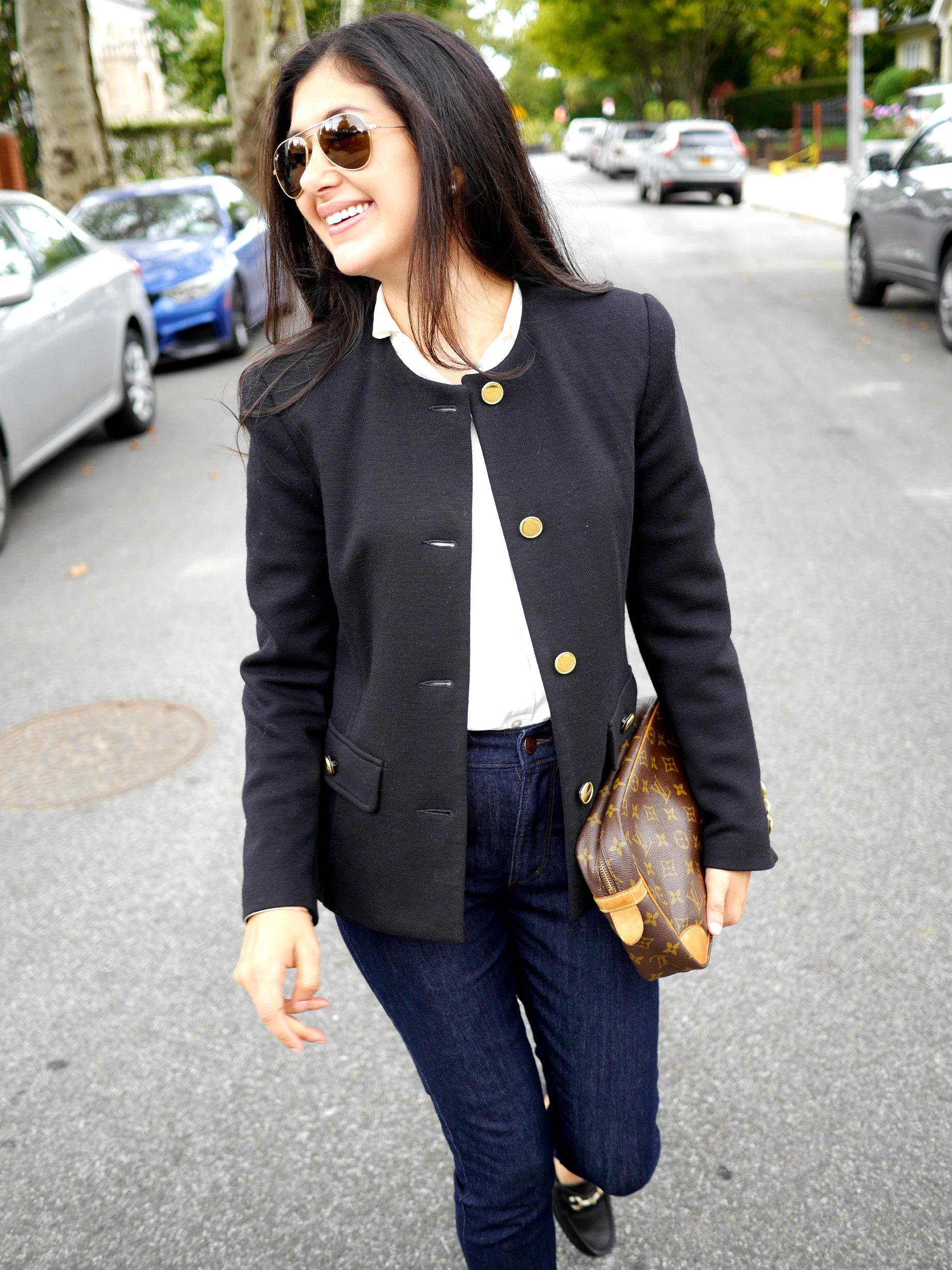 Brooks Brothers Blazer Everlane Silk Shirt Gucci Loafers Ray Ban Aviators Louis Vuitton Clutch