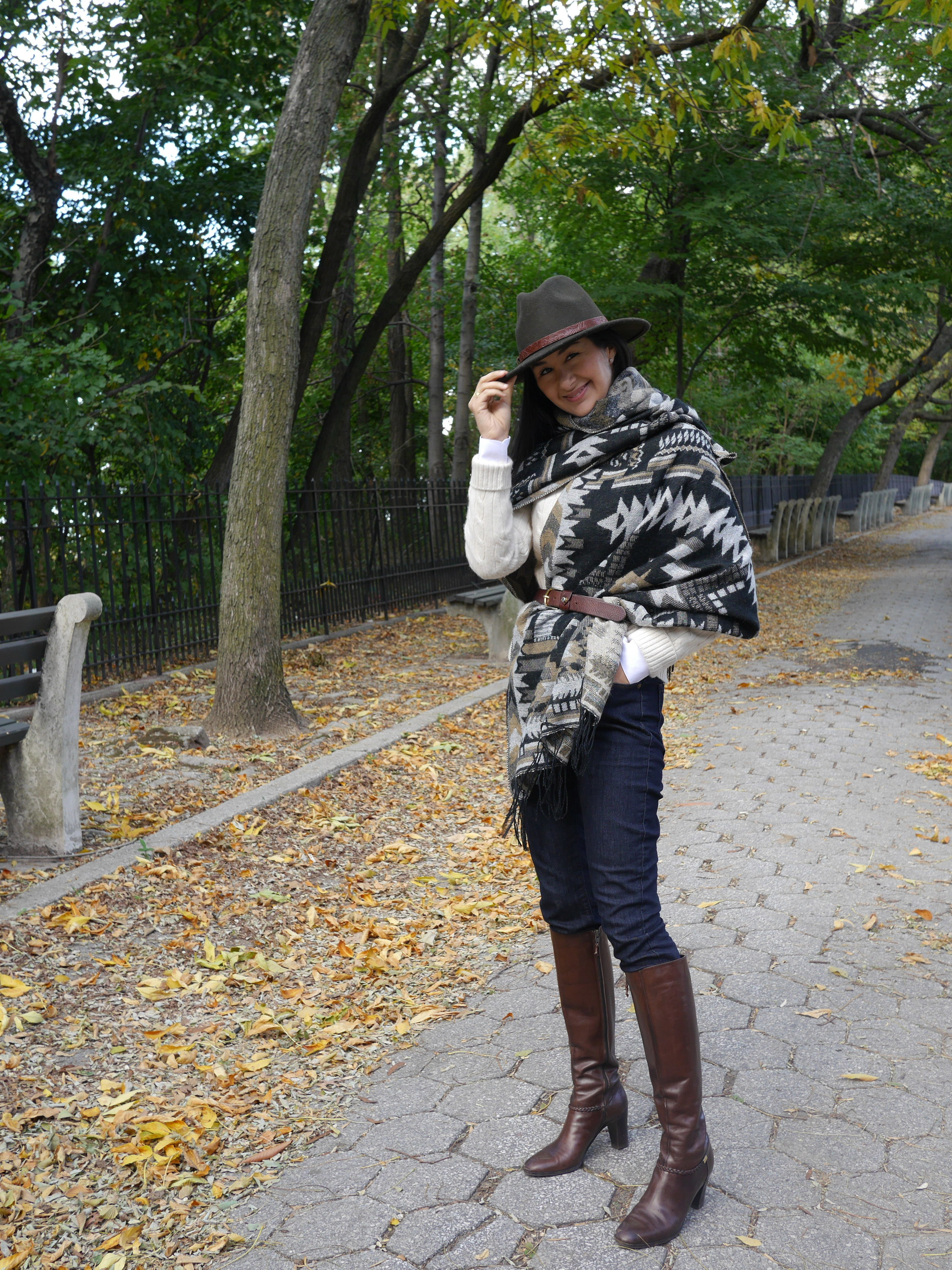 Forever 21 Blanket Scarf Salvatore Ferragamo Boots LOFT Skinny Jeans Forever 21 Fedora Massimo Dutti Belt Brooks Brothers White Shirt Cashmere Cable knit Sweater