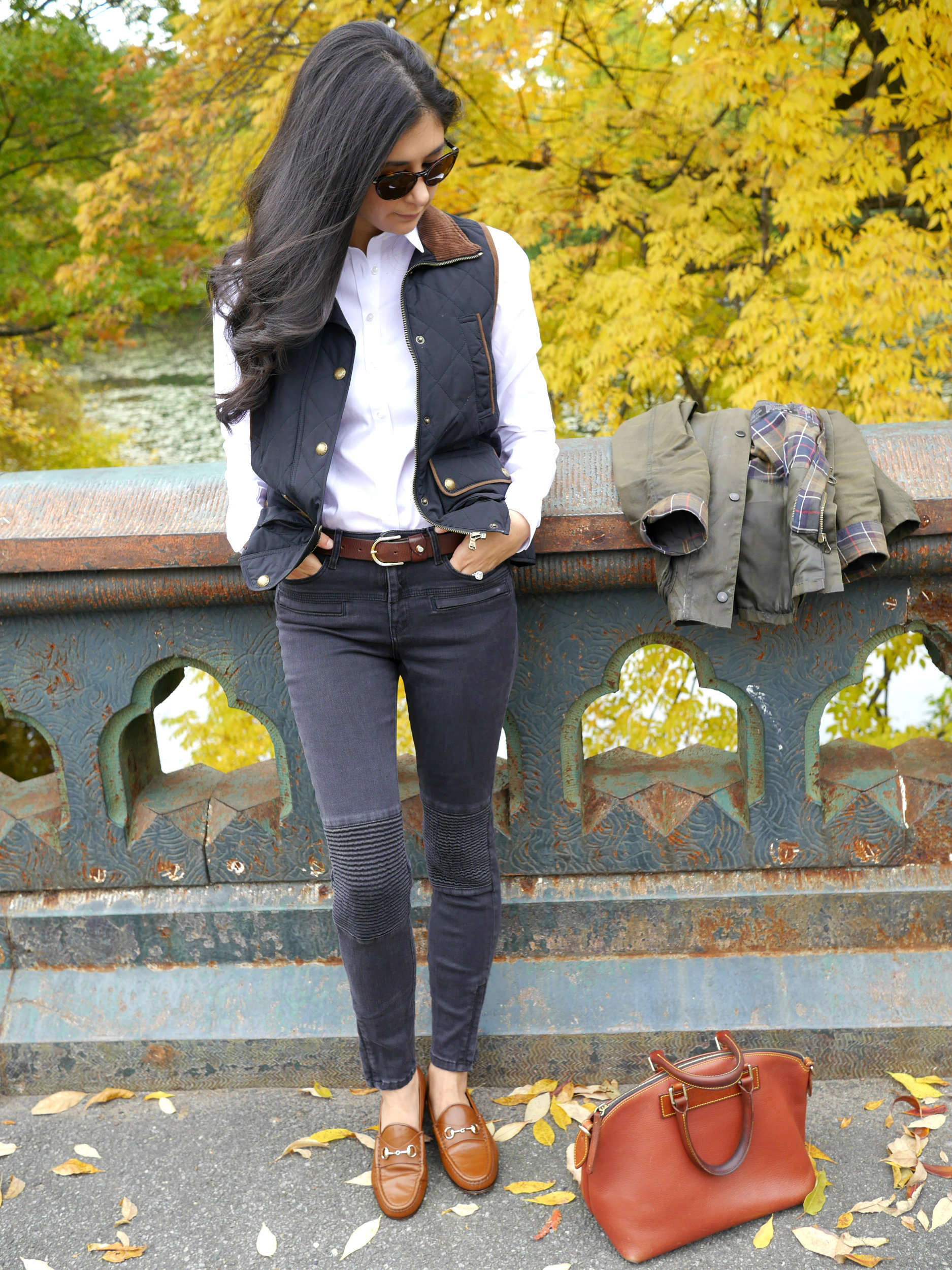 Ralph Lauren Quilted Vest Zara Jeans Gucci Horsebit Loafers Dooney and Bourke Purse Brooks Brothers Shirt Persol Sunglasses