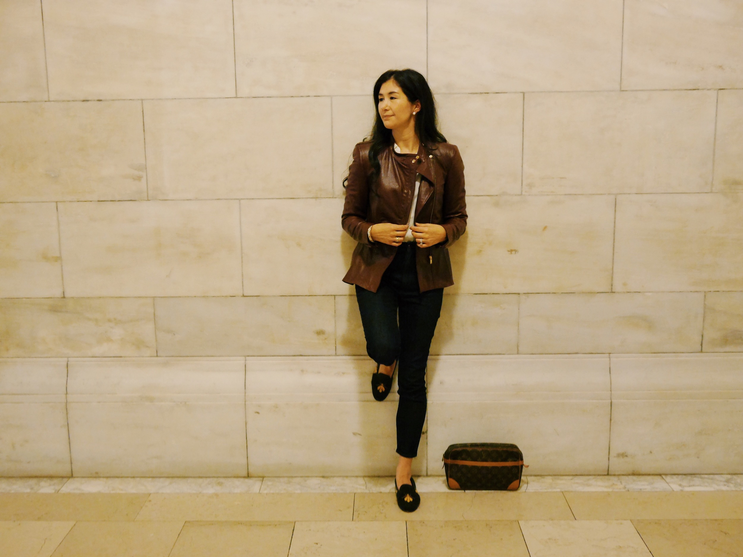 Zara Leather Jacket LOFT Skinny Jeans Everlane Silk Shirt Stubbs and Wootton Shoes Hermes Bracelet J Crew Cashmere Cardigan
