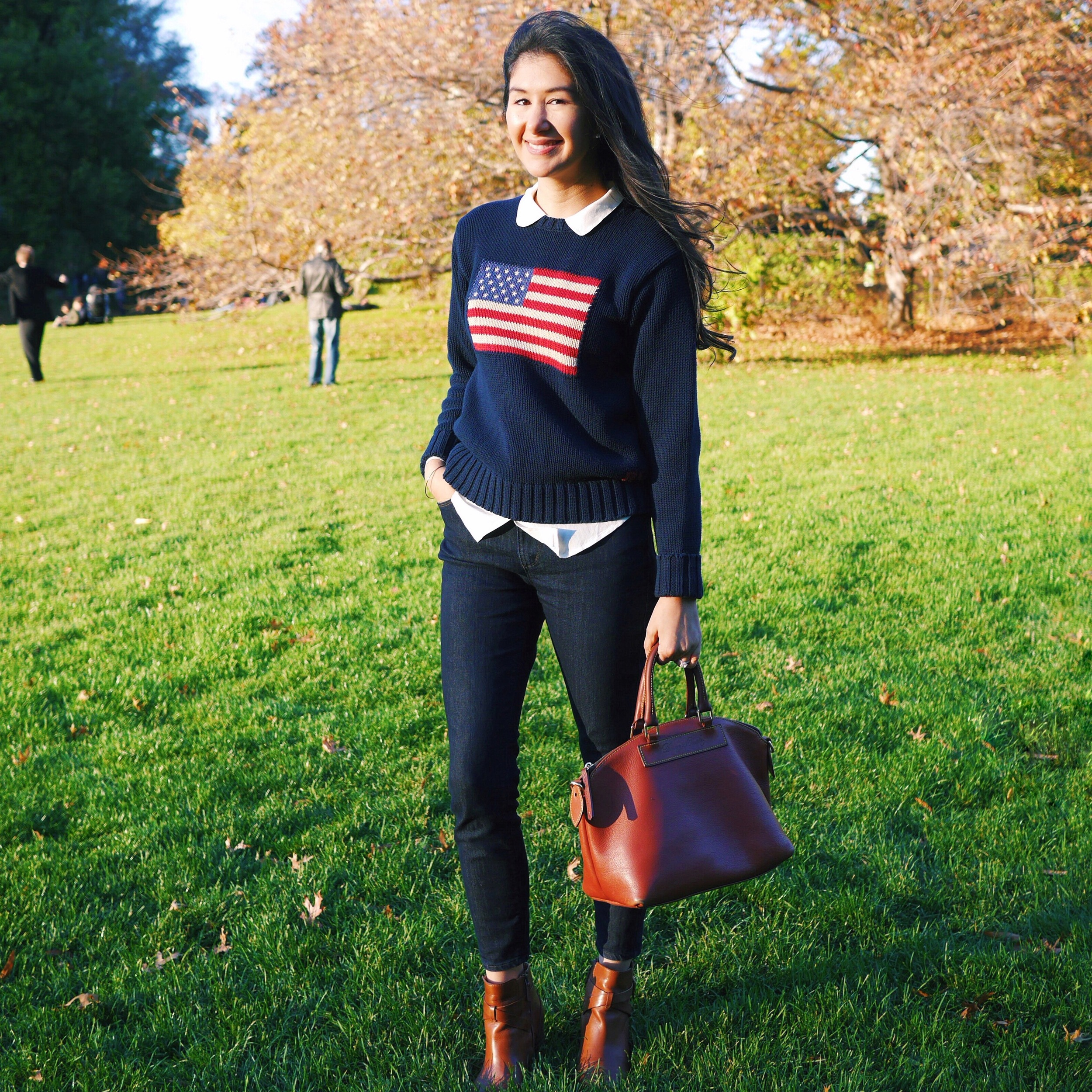 Ralph Lauren American Flag Sweater LOFT Skinny Jeans Everlane Silk Shirt Cole Haan Ankle Boots Dooney And Bourke Purse Barbour Jacket