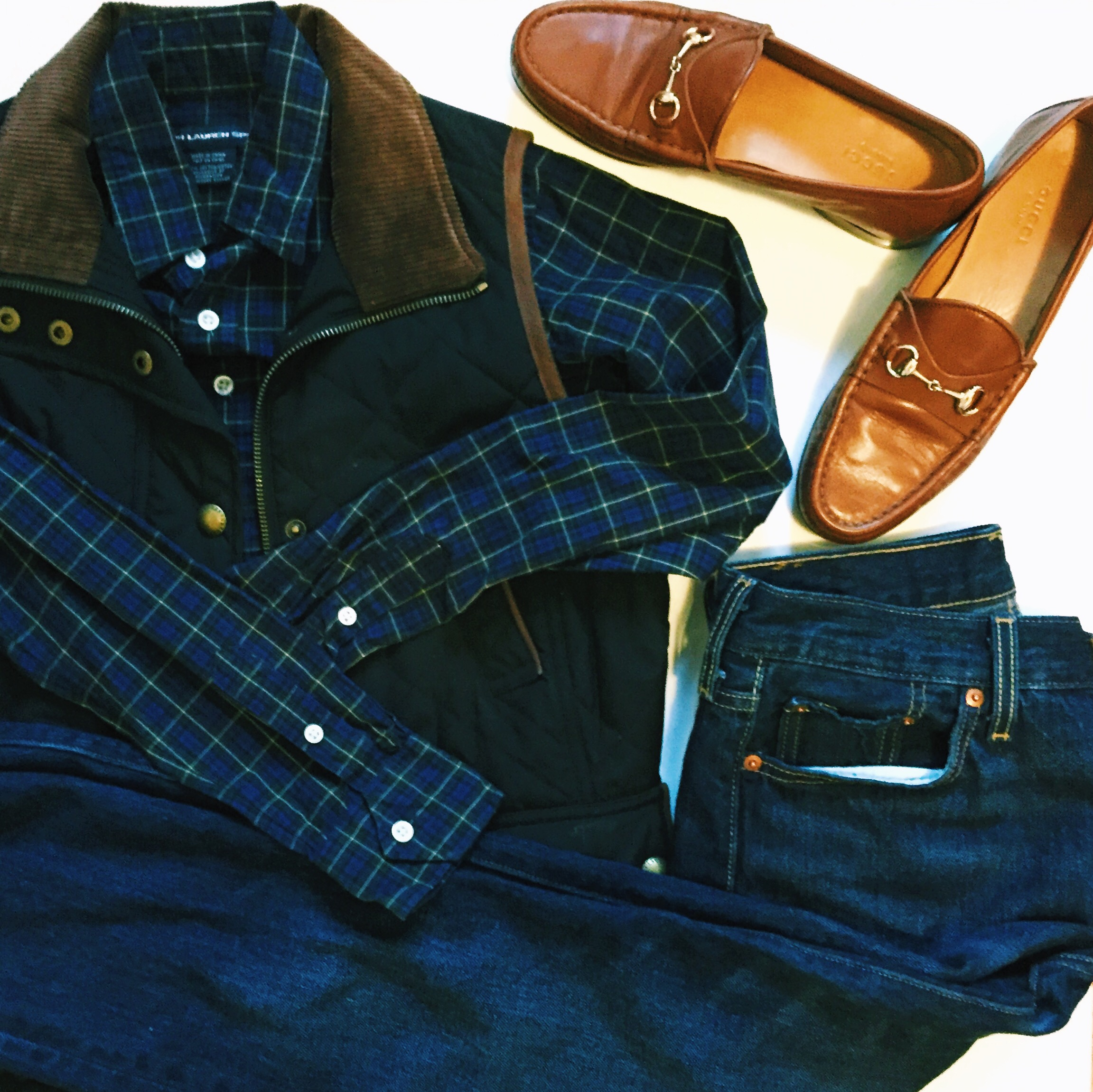 Ralph Lauren Plaid Shirt Ralph Lauren Quilted Vest Gucci Loafers Levis 501 CT Jeans.jpeg