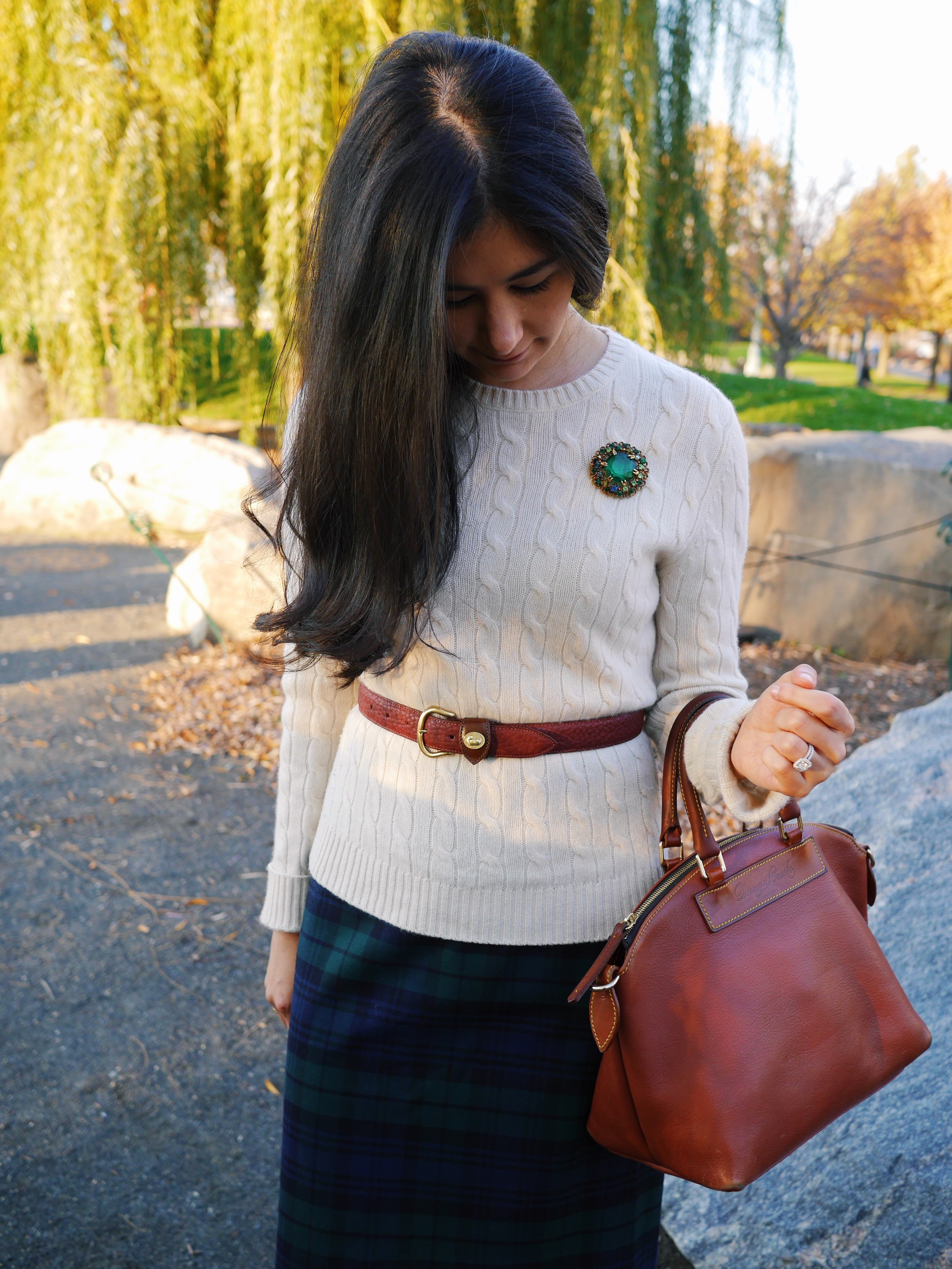 4 J Crew Blackwatch Pencil Skirt Cashmere Sweater Dooney and Bourke Belt Dooney and Bourke Purse Salvatore Ferragamo Boots Vintage Brooch David Yurman Cable Rings.jpeg