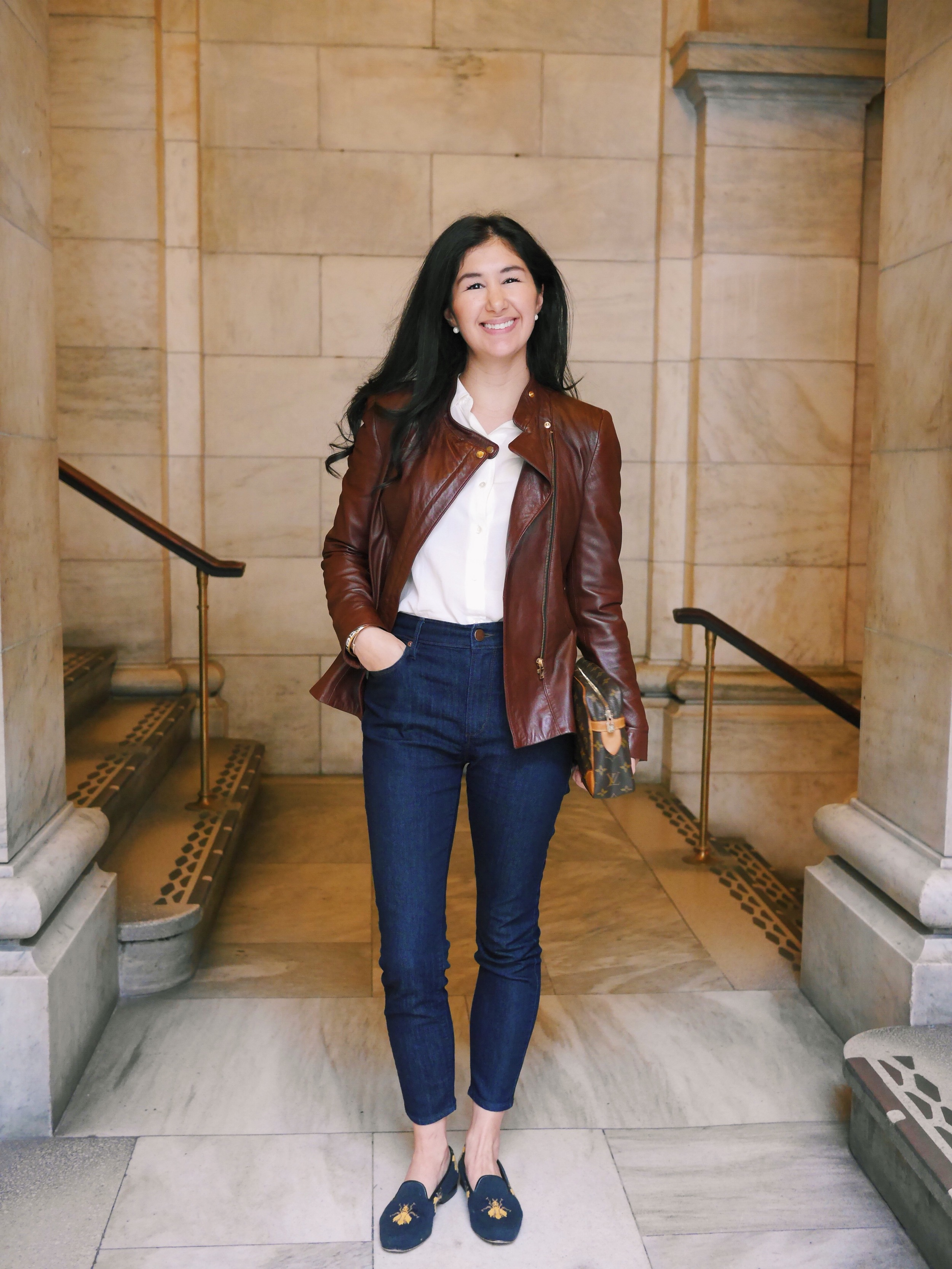 2 Zara Leather Jacket LOFT Skinny Jeans Everlane Silk Shirt Stubbs and Wootton Shoes Hermes Bracelet J Crew Cashmere Cardigan.JPG