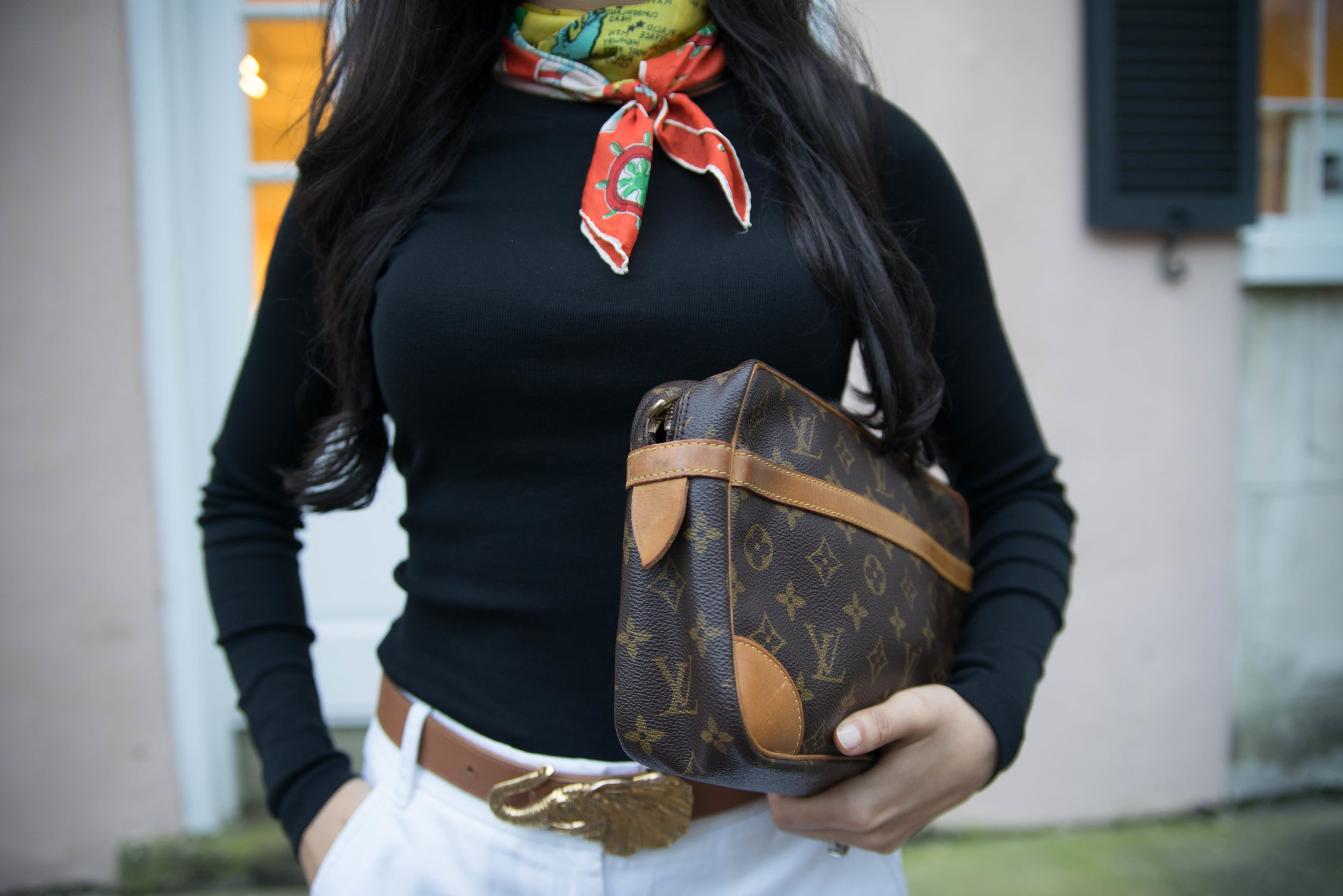 Vintage Nautical Print Silk Scarf Black J Crew T Louis Vuitton Clutch J Crew Chino Shorts Gucci Horsebit Loafers