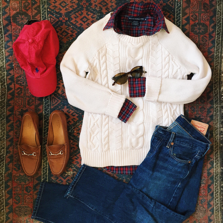 Ralph Lauren Plaid Shirt LL Bean Sweater Levis Jeans