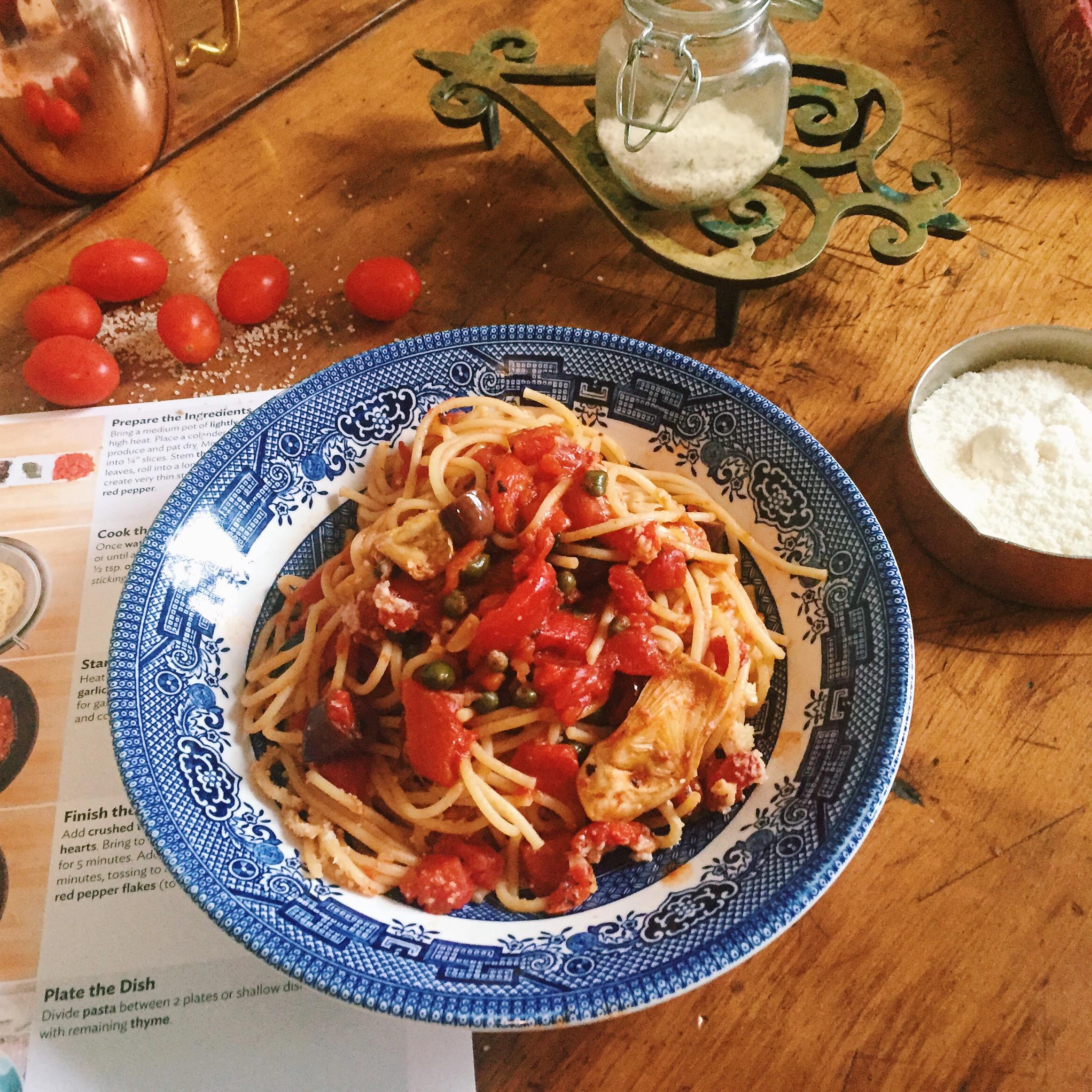 Home Chef #homechef pasta recipe spaghetti alla puttanesca recipe