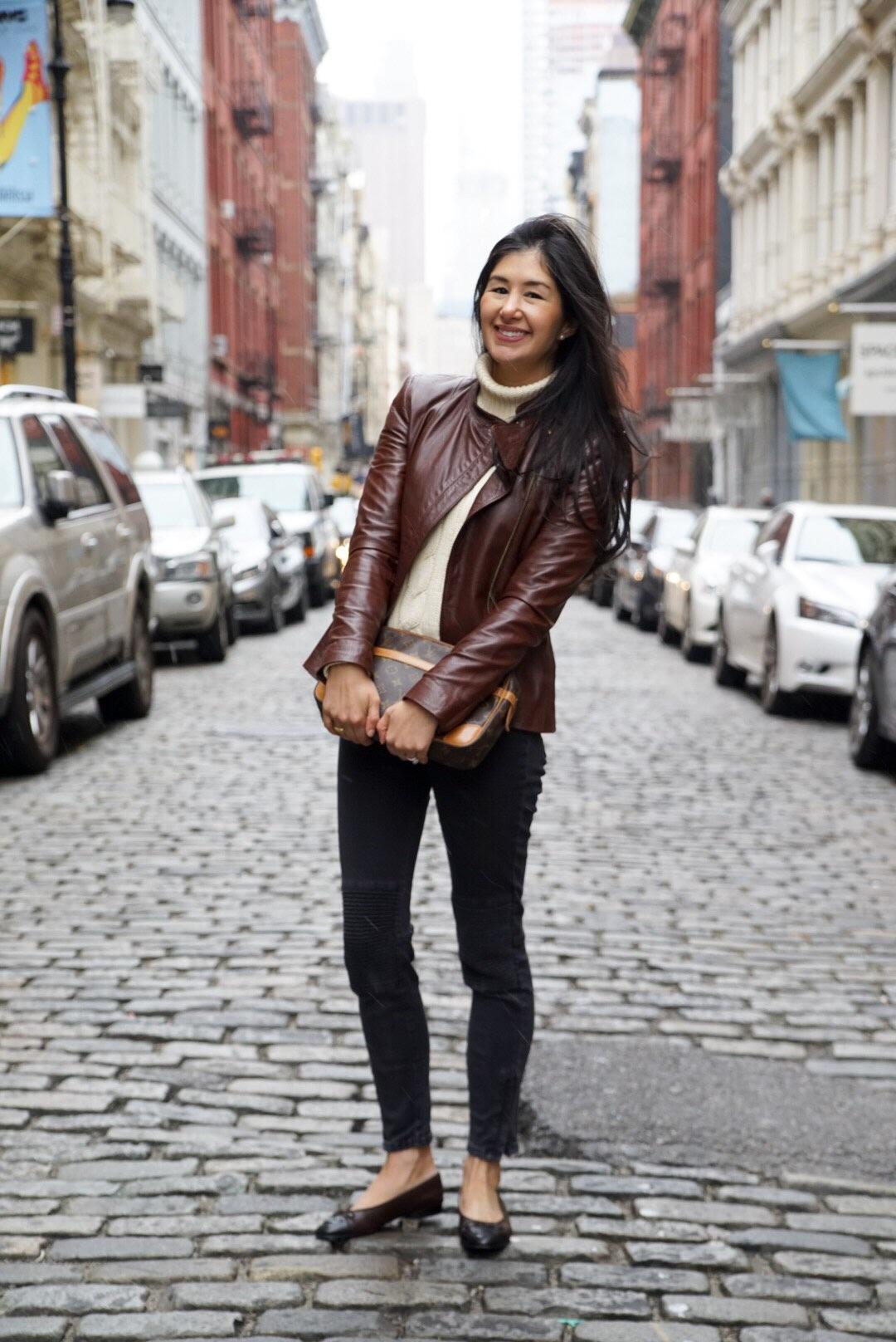 Soho New York Zara Leather Jacket Ralph Lauren Turtleneck Zara Moto Jeans Chanel Ballet Flats Louis Vuitton Clutch 4.jpg